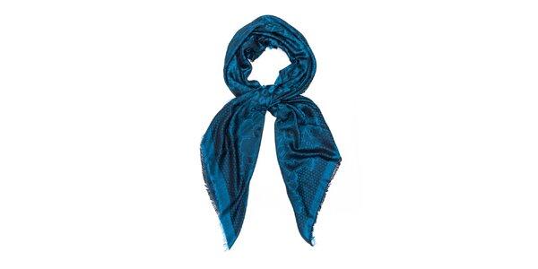 Dámsky modrý šál so vzorom Bella Rosa