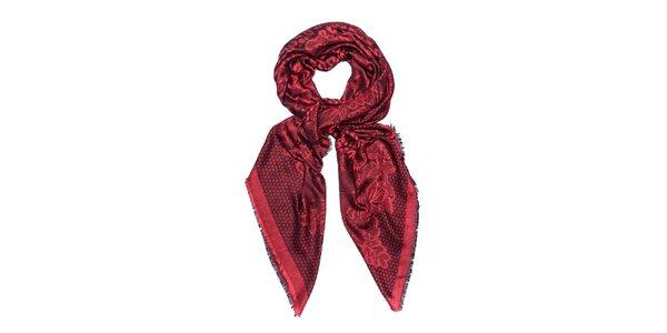 Dámsky červený šál so vzorom Bella Rosa