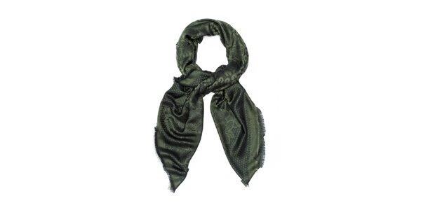 Dámsky tmavo zelený šál so vzorom Bella Rosa
