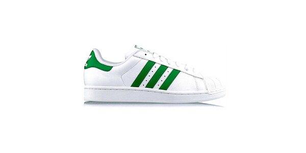 Pánske biele tenisky so zelenými pruhmi Adidas