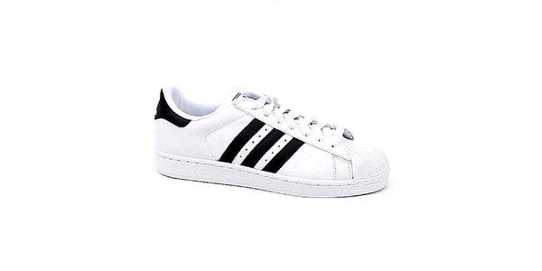 Pánske biele tenisky s čiernymi pruhmi Adidas