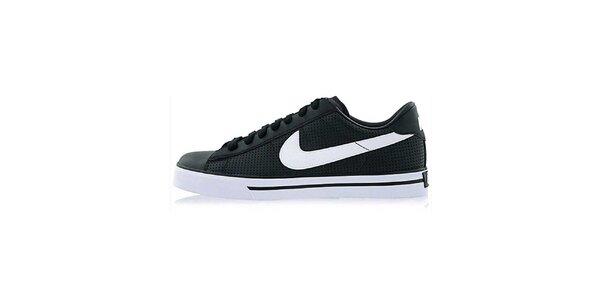 Pánske čierno-biele kožené tenisky Nike