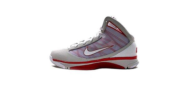 Pánske šedo-červeno-biele členkové tenisky Nike