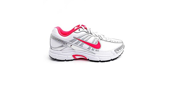 Dámske bielo-strieborné bežecké topánky Nike s ružovými detailmi