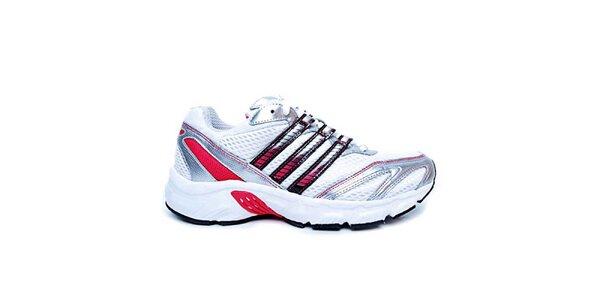 Dámske bielo-strieborno-červené topánky na beh Adidas