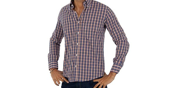 Pánska oranžovo-modrá kockovaná košeľa Lotto