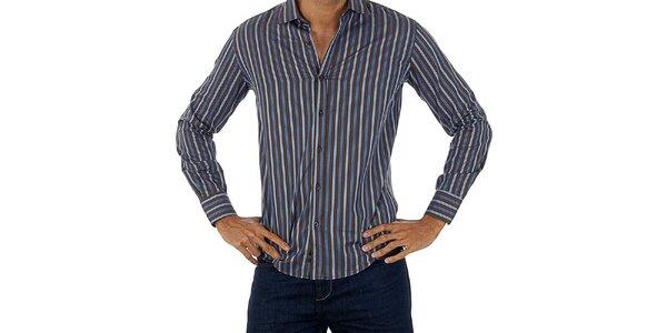 Pánska hnedo-modrá pruhovaná košeľa Lotto