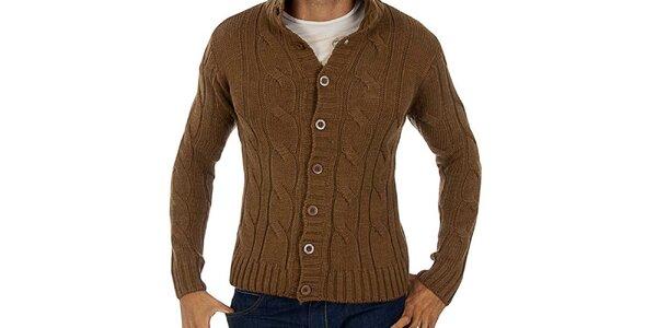 Pánsky hnedý prepínací sveter s vrkôčikmi Lotto