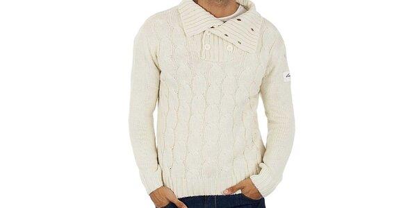 Pánsky biely pletený sveter s vrkôčikmi Lotto