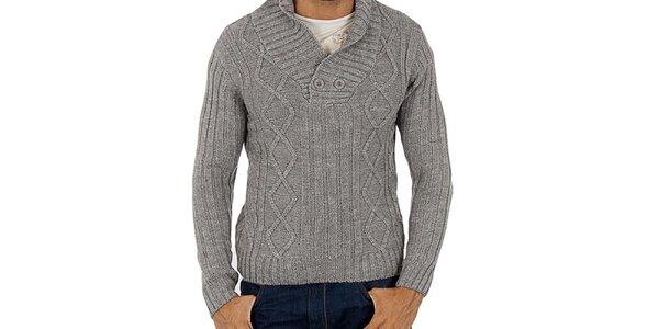 Pánsky šedý pletený sveter Lotto s vrkôčikmi