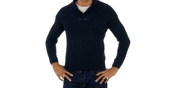 Pánsky modrý pletený sveter Lotto s vrkôčikmi