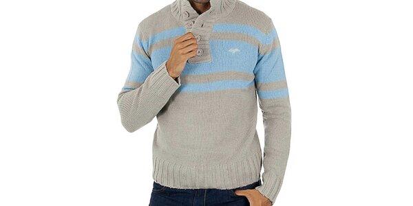 Pánsky šedý sveter s modrými pruhmi Lotto