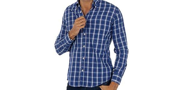 Pánska modro-biela kockovaná košeľa Lotto