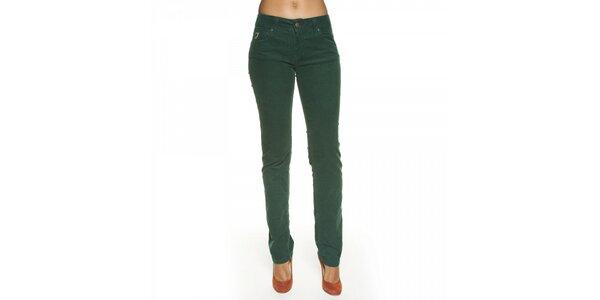 Dámske tmavo zelené menčestrové nohavice Lois