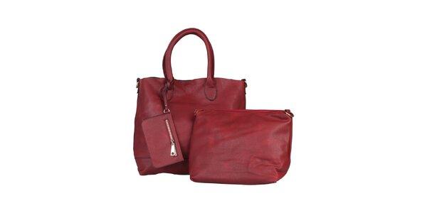Dámska červená kabelka s vyberateľnou taštičkou Dudlin