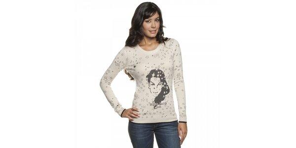 Dámsky béžový sveter Lois s potlačou