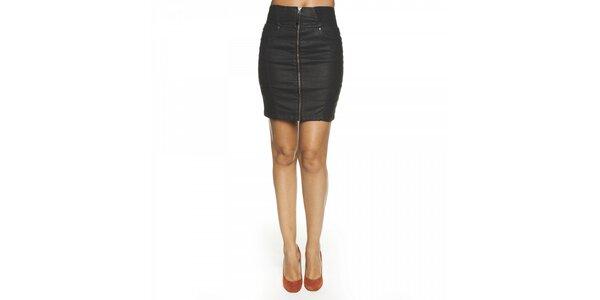 Dámska čierna mini sukňa Lois s kovovým zipsom