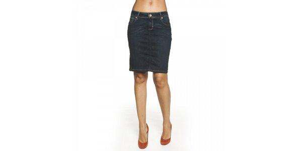 Dámska tmavo modrá džínsová sukňa Lois s kontrastným prešívaním