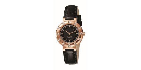 Dámske ružovo-čierne hodinky s kryštálmi Esprit