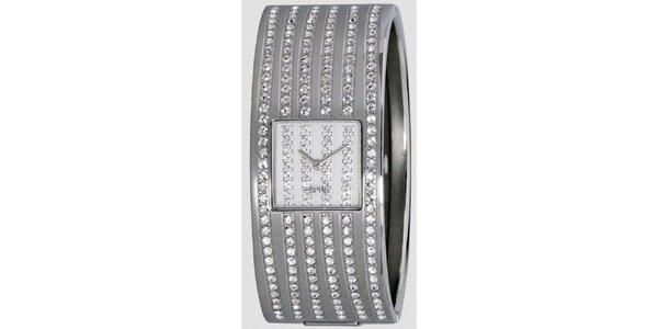Dámske strieborno tónované hodinky s radami kryštáľov Esprit