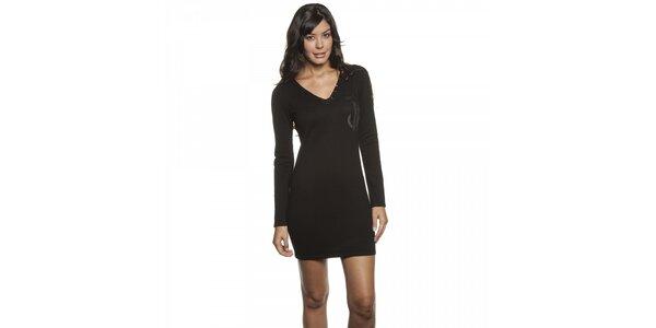 Dámske čierne úpletové mini šaty Lois s flitrami