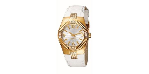 Dámske bielo-zlaté hodinky s kryštálikmi Esprit