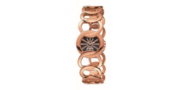 Dámske ružovo-zlato tónované hodinky s lúčmi Esprit