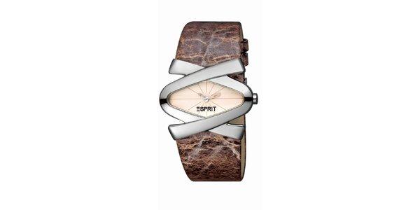 Dámske hnedo-strieborné hodinky s koženým remienkom Esprit