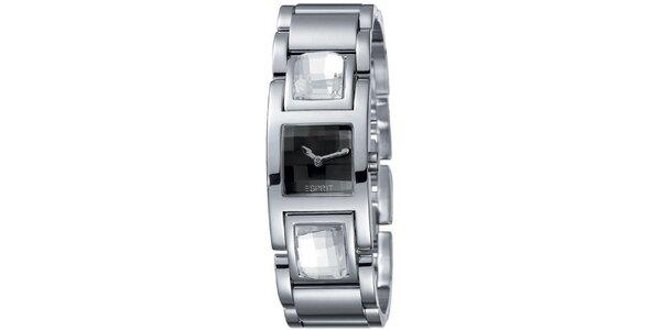 Dámske strieborno tónované hodinky s čiernym ciferníkom Esprit