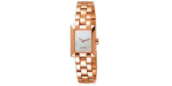 Dámske zlato tónované náramkové hodinky Esprit
