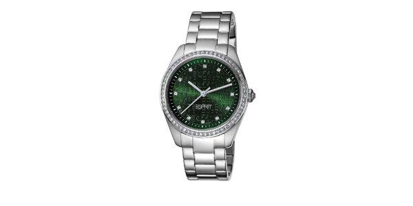 Dámske oceľové hodinky so zeleným ciferníkom Esprit