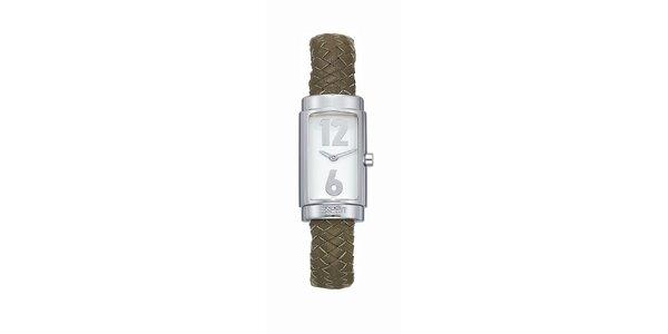 Dámske strieborné hodinky s pleteným náramkom Esprit