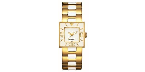 Dámske zlato-krémové hodinky s keramikou Esprit