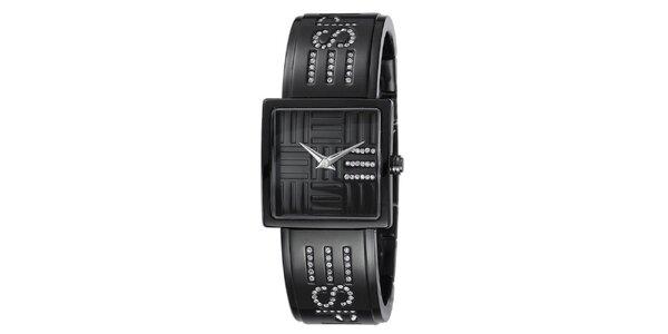 Dámske čierne hodinky s bielymi kryštálmi Esprit