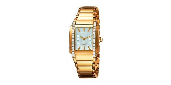 Dámske zlato tónované hodinky s kryštálmi Esprit