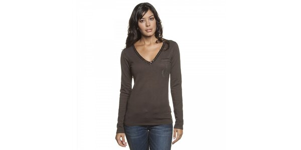 Dámsky tmavo hnedý sveter Lois s flitrami