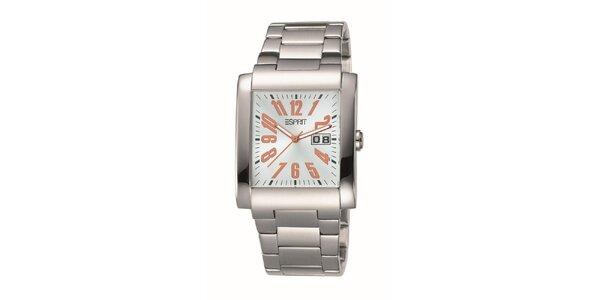 Pánske hranaté strieborné hodinky Esprit