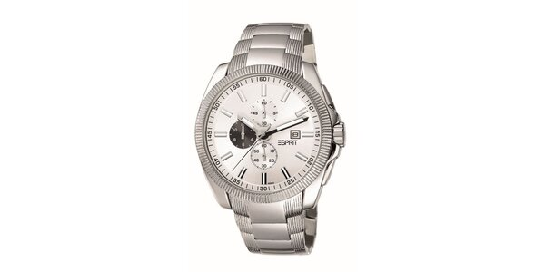 Pánske strieborné hodinky s chronografom Esprit