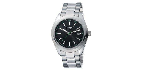 Pánske strieborné hodinky s čiernym ciferníkom Esprit