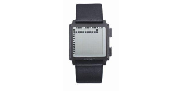 Pánske hranaté digitálne hodinky Esprit s čiernym remienkom