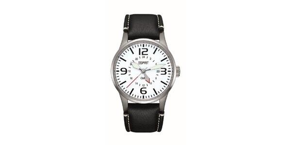 Pánske strieborné hodinky s červenou sekundovkou Esprit
