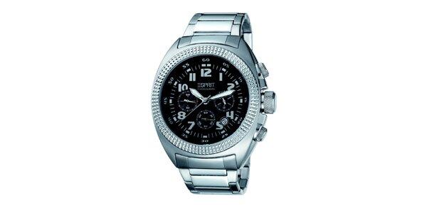 Pánske strieborné hodinky s ozdobným púzdrom Esprit