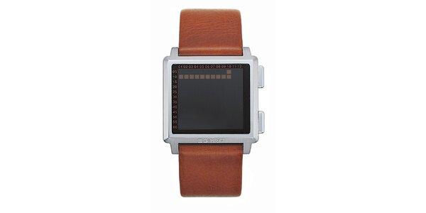 Pánske hranaté digitálne hodinky Esprit s hnedým remienkom