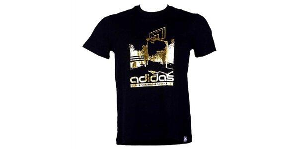 Pánske čierno-zlaté tričko Adidas