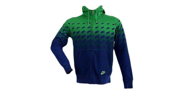 Pánska modro-zelená mikina s kapucňou Nike