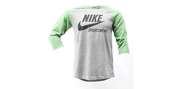 Pánske šedo-zelené tričko Nike