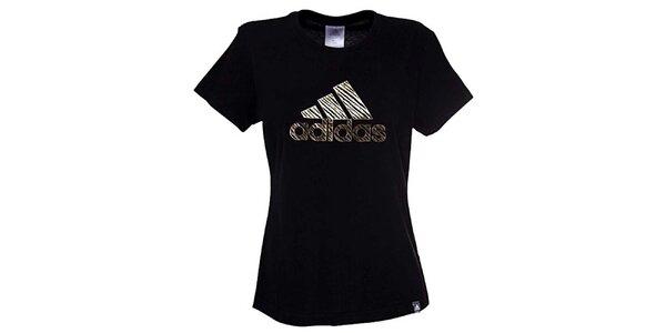 Dámske čierno-zlaté tričko Adidas