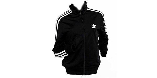 Dámska čierna bunda s bielymi pruhmi Adidas