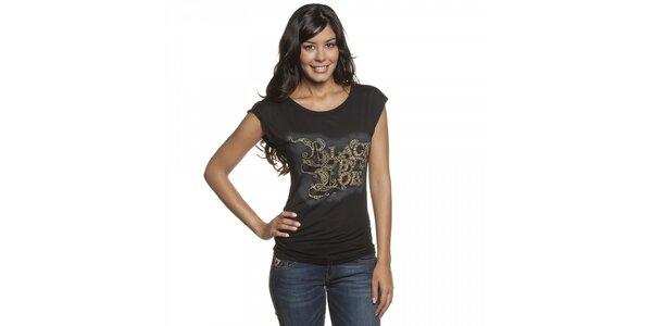 Dámske čierne tričko Lois s potlačou a kovovými cvokmi