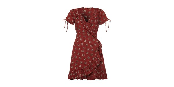 Dámske vínove červené šaty s volánkami a potlačou Uttam Boutique